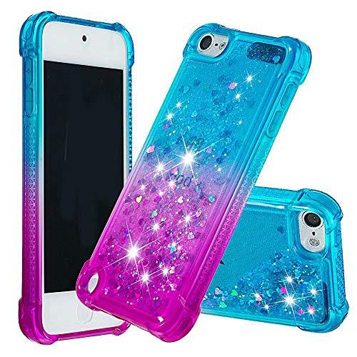 dudubaobei Kompatibel mit iPod Touch 6./5. Fall für Frauen Mädchen Kinder Glitter Sparkle Bling Flüssigkeit schwimmenden Wasserfall Durable niedlichen Fall -Blau/Lila - 5 Lila Ipod-touch-fall