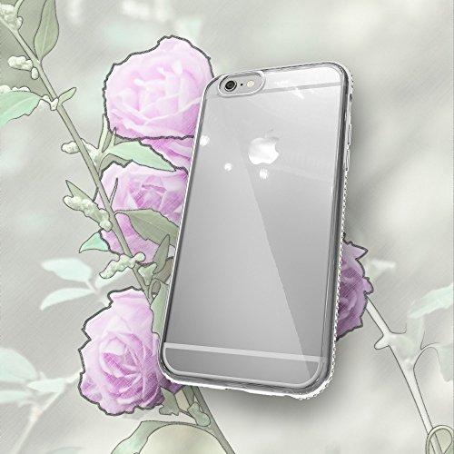iPhone 6 6S Coque Silicone de NICA, Ultra-Fine Housse Transparente avec Strass Contour de Protection Cover Etui Mince Clear Bumper Case pour Telephone Portable Apple iPhone 6S 6, Couleur:Gold Or Argent