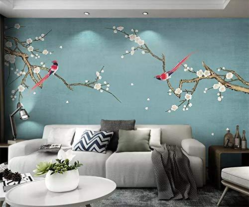 Yosot Tapete Benutzerdefinierte Tapete 3D Fototapete Birne Blumen Vogel Handgemalte Feder Vogel Und Blume Neue Chinesischen Stil Tapete Murals-450 Cm x 300 Cm