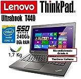 Notebook Ultrabook Lenovo ThinkPad T440 - Intel Core i5-4300U - RAM 8Gb - SSD 240Gb - 14' HD+ 1600x900 - Grado A (Ricondizionato) (T440 8Gb SSD240, -)