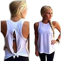 Camisetas mujer Sannysis - Mujer Camiseta verano blusa Casual Tops T - shirt, sin mangas (M)