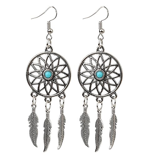 ZIVOM The Jewelbox Blue Feather Sun Oxidized Brass Tribal Bohemian German Silver Pendant Earring Set for Women and Girls