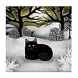 CafePress diseño de gato negro invierno puesta de sol para azulejos posavasos–azulejos posavasos, posavasos de bebida, pequeño salvamanteles