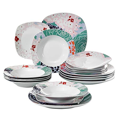 Veweet OLINA 18pcs Assiettes Pocelaine Service de Table 6pcs Assiettes Plates 24,7cm, 6pcs Assiette Creuse 21,5cm, 6pcs Assiette à Dessert 19cm Vaisselles pour 6 Personnes Design Fleuri