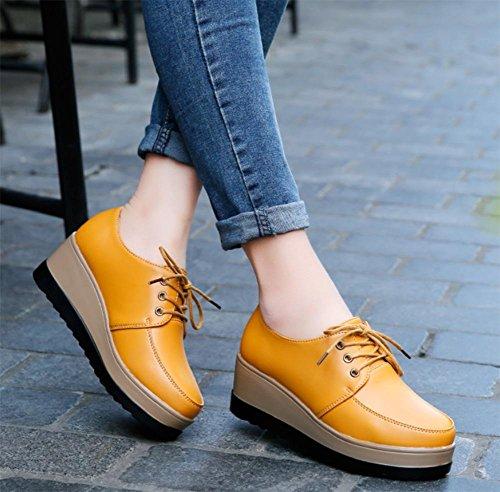 scarpe casual delle donne dal fondo pesante scarpe scarpe di cuoio autunno per aiutare le scarpe basse di cuneo dei pattini della piattaforma del tallone aumento delle donne Yellow