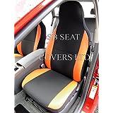 Para un Mini Cooper, fundas para asiento, color gris + naranja mitras, 2