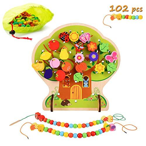 el Holz Motorikspielzeug Baum Obst Gemüse Tier HolzPerlen Spielzeug, Montessori HolzspielzeugBaby ()