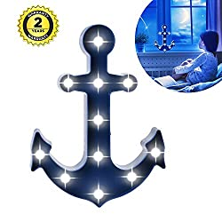 New Arrival Anchor 11 LED Marquee Sign LIGHT UP Vintage Plastic Night Light Wall Lamps Battery Operated Indoor Decoration(Blue Anchor)
