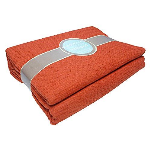 Tony's Textiles Manta con diseño de Panal - 100% algodón - Naranja Terracota - 265 x 265 cm