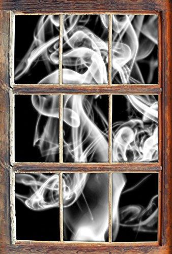 Stil.Zeit Monocrome, Dark Rauch in der Dunkelheit Fenster im 3D-Look, Wand- oder Türaufkleber Format: 92x62cm, Wandsticker, Wandtattoo, Wanddekoration