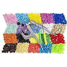 Botones Snap Luxebell 300pcs Botones Redondos de T5 Plástico de DIY Manualidades con Remachadora - 20 Colores