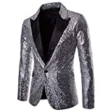 Herren Shiny Pailletten Anzug Multi Farbe und Größe der Männer Hübsche Jacken-Blazer für Nachtklub, Hochzeit, Partei (Large, Silber)