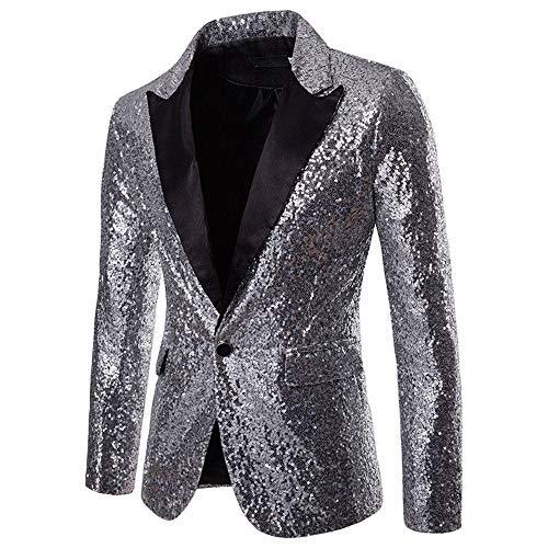 ten Anzug Multi Farbe und Größe der Männer Hübsche Jacken-Blazer für Nachtklub, Hochzeit, Partei (XLarge, Silber) ()