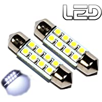 ESS TECH Ampoule Navette 39-40 mm 8 LED Blanc Froid 12V Voiture intérieur plafonnier Coffre culot SV8.5-8 Auto [2pcs] Box Universelle Lampe plafonnier