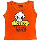 Tantra Hello Skull Baby boy / Baby Girl Soft Cotton Sleeve Less Vest,Flo Orange, 0-3 Months
