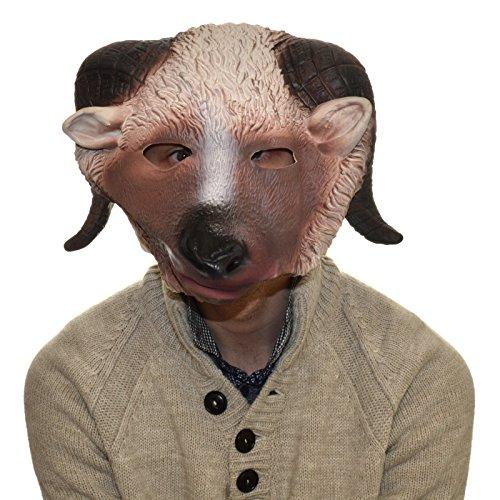 Image of Latex Full Head Overhead Goat Ram Funny Animal Cosplay Halloween Fancy Mask