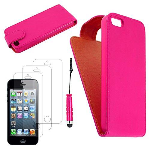 ebestStar - pour Apple iPhone SE 5S 5 - Housse Coque Etui Flip Simili Cuir à Rabat vertical + Mini Stylet tactile + 3 Films protection écran, Couleur Rose [Dimensions PRECISES de votre appareil : 123. Rose