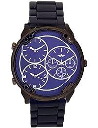 700d0f92a89 Softech Men s Wrist Watch Blue Face 3 Time Zones Analog Dislplay Quartz  Movement with Black Metal