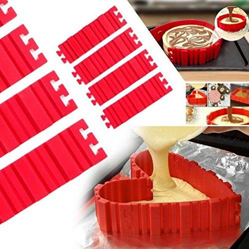 4PCS Silikon Kuchen Form Backen Backform Schlange DIY und einteiligen Schneiden Kuchen, Schneide für jeden Form