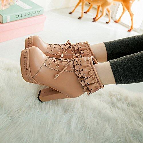 Mee Shoes Damen süß Borte Reißverschluss chunky heels Plateau Ankle Boots Aprikose