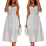 Kingko® 2018 Neu Sommerkleid Damen V Ausschnitt Trägerkleid Spaghetti Bugel Sommerkleid, Sommerkleider Strandkleider Knielang (L, Grau)