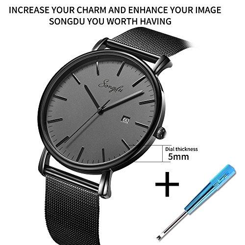 SONGDU Herren Unisex Ultra dünn Analog Quarz Schwarz Minimalistisch Armbanduhr mit Mode Datum und Edelstahl Milanese Mesh Band (Schwarz - grau)