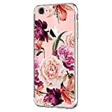 Pacyer Case kompatibel mit iPhone 7 Hülle iPhone 8 Hülle Silikon Ultra dünn Transparent Handyhülle Rückschale TPU Schutzhülle für Apple iPhone 7/8 Cover Rot Blume Mädchen Macaron (5)