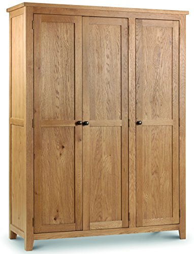 Julian Bowen Marlborough 3-Door Wardrobe, Waxed Oak