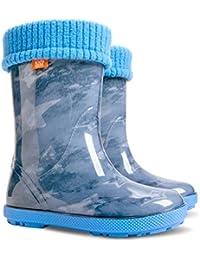 Childrens Kids zapatos de lluvia botas de agua botas de Wellington–Pantalones vaqueros Star (UK 5–6(UE 22–23) bebé
