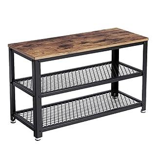 VASAGLE Shoe Bench Rack, 3-tier Industrial Storage Shelf with Seat, Wooden Shelf, Metal Frame, for Entryway, Living Room, Hallway, Rustic Brown LBS73X
