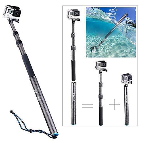 Smatree Kohlefaseres Selfie Stick Abnehmbare Erweiterbar Schwimmende Pole für DJI OSMO Action/Gopro Hero8/GoPro Hero 7/6/5/4/3+/3/2/1/Session