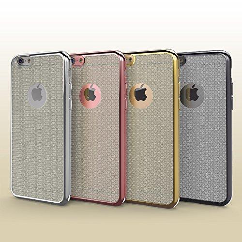 Urcover® Apple iPhone 6 / 6s Schutzhülle mit Spiegelrand in Silber Back-Case Cover TPU Smartphone Zubehör Schale Rose Gold