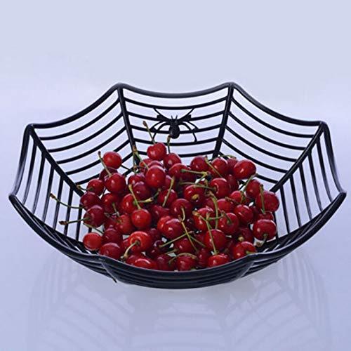 Outtybrave Spinnennetz-Schüssel, Kunststoffkorb, Teller, Party-Dekoration, Obst-Korb für Halloween, Bar, Partys