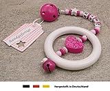 Baby Kinderwagen Anhänger mit NAMEN | Kinderwagenkette mit Wunschnamen - Mädchen Motiv Herz Ornament in pink