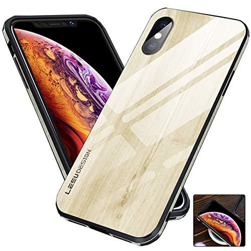 iPhone XS Max Schutzhülle aus Holz für Frauen und Herren, 9H, gehärtetes Glas, Holzmaserung, schlankes Cover mit Loch für Trageband für iPhone 10S Max, iPhone XS Max, weiß