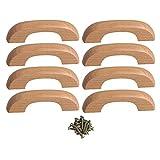 BQLZR - Tiradores para cajones (madera de haya, 64 mm, distancia entre agujeros, 8 unidades)