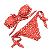 OVERDOSE Frauen Dot Printed Bikini Sets Push-Up Gepolsterte Bow Bademode Damen Badeanzug (A-Orange ,M)