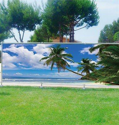 Stickersnews - Brise vue déco personnalisé jardins, terrasses et balcons Palmiers réf 3625 Occultation - 100%, Dimensions - 180x70cm