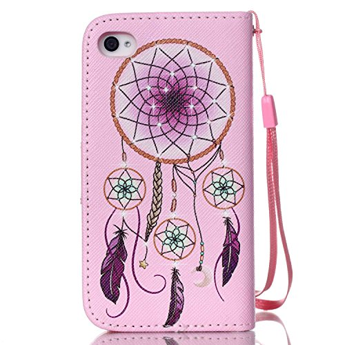 Coque pour iPhone 4 4S, Etui pour iPhone 4 4S, ISAKEN Peinture Style PU Cuir Flip Magnétique Portefeuille Etui Housse de Protection Coque Étui Case Cover avec Portable Dragonne Stand Support et Carte  Ornement Pourpre