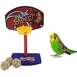 Mini canasta intelectiva de baloncesto para ave, juguete de entrenamiento para loro, guacamayo, gris africano, cacatúa o periquito