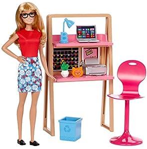 Barbie Muebles de la casa, Muñeca y escritorio, accesorios casa de muñecas (Mattel DVX52)