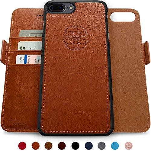 Dreem Fibonacci Brieftasche & Schutz-Hülle für iPhone 7/8-Plus, magnetisches herausnehmbare TPU Case, dünn bruchfest, 2 Standfunktionen, hochwertige synthetische Leder-Tasche, RFID Schutz - Karamell