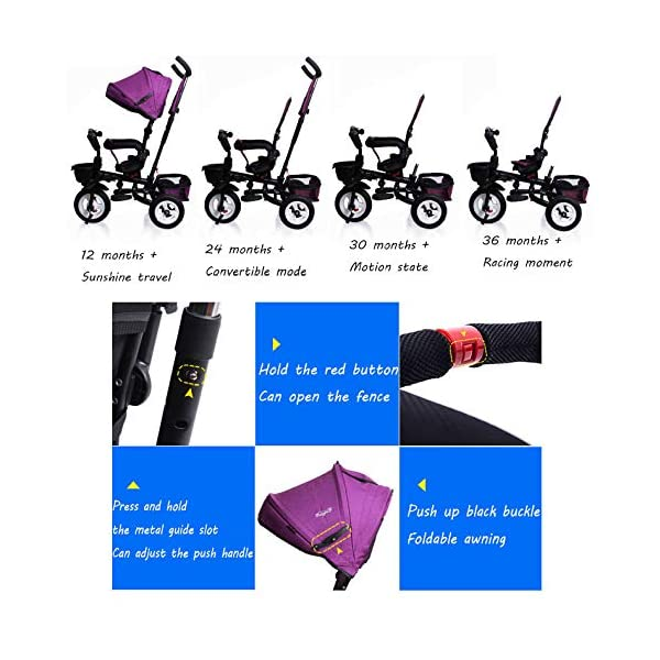 BGHKFF 4 In 1 Childrens Folding Tricycle 1 To 6 Years Rear Wheel With Brake Childrens Tricycles Detachable And Adjustable Push Handle 2-Point Safety Belt Child Trike Maximum Weight 25 Kg,Winered BGHKFF ★Material: High carbon steel frame, suitable for children aged 1-6, maximum weight 25 kg ★ 4 in 1 multi-function: can be converted into a stroller and a tricycle. Remove the hand putter and awning, and the guardrail as a tricycle. ★Safety design: Golden triangle structure, safe and stable; front wheel clutch, will not hit the baby's foot; 2 point seat belt + guardrail; rear wheel double brake 2