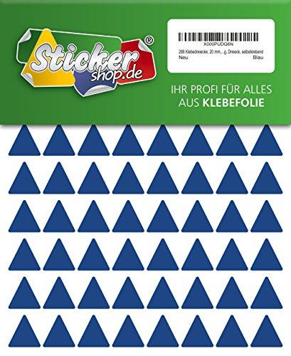 288 Aufkleber, Dreieck, Sticker, 20 mm, blau, PVC, Folie, Vinyl, glänzend, Klebemarkierung, selbstklebend