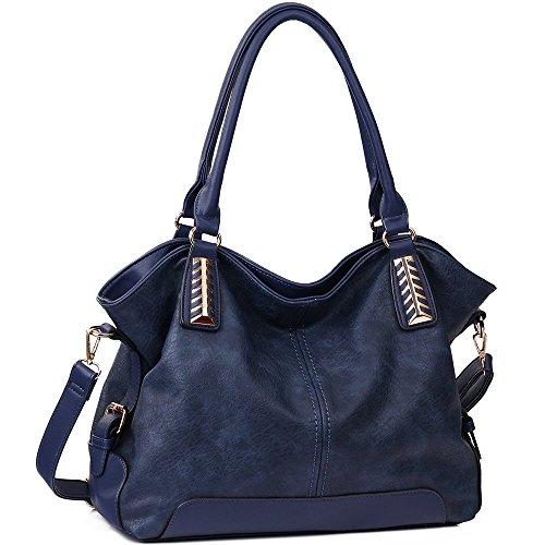 JOYSON Handtaschen Damen Hobo Taschen PU Leder Schultertaschen Große Umhängetaschen Shopper Damen Henkeltaschen (L:34cm * H:15cm * W:30cm) Blau