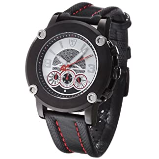 DeTomaso Monterosso D – Reloj de Caballero de Cuarzo, Correa de Piel Color Negro (con cronómetro)
