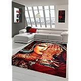 Alfombra alfombra de diseño contemporáneo alfombra oriental alfombra de la sala gris con tatuaje de henna en la mano Naranja Rojo Turquesa manchado Größe 120x170 cm
