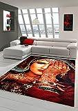 Tappeto progettista Tappeto moderno tappeto orientale soggiorno moquette grigia con tatuaggio all'hennè mano in Rosso Turchese arancione macchiato Größe 160x230 cm