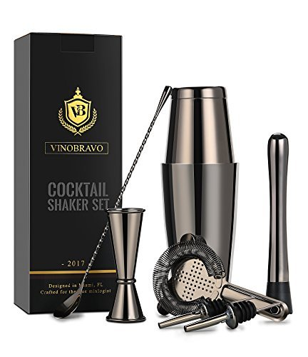 Premium Edelstahl Boston Cocktailshaker Set /Cocktailset/Martinishaker/Mixer in Schwarze von VinoBravo: 530 ml & 830 ml Cocktail shaker/Cocktailmixer, Hawthorne-Barsieb, Doppel-Jigger, 30 cm Rührlöffel, 18 cm Getränkestößel und Rezepte