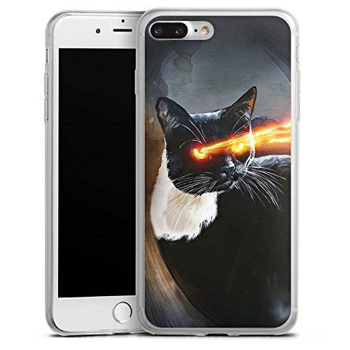 Apple iPhone 8 Slim Case Silikon Hülle Schutzhülle Katze Laser Auge Silikon Slim Case transparent